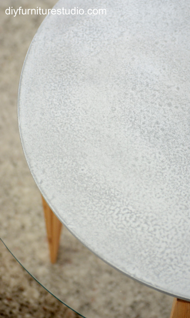 close up of DIY round table top