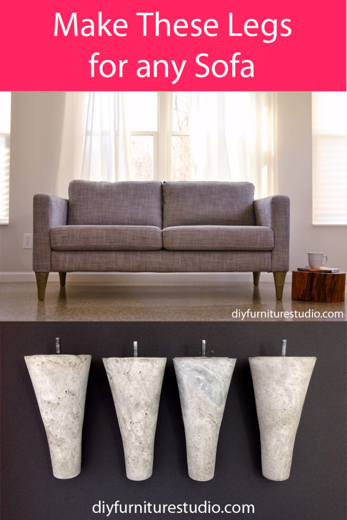 How to make cement mid-century modern style sofa legs for IKEA and other brand sofa