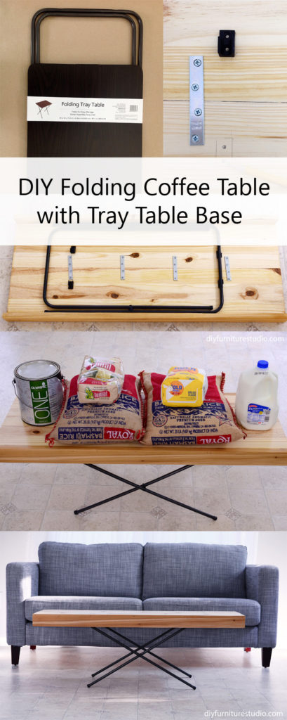 DIY x base folding coffee table made with tray table base and stair risers.