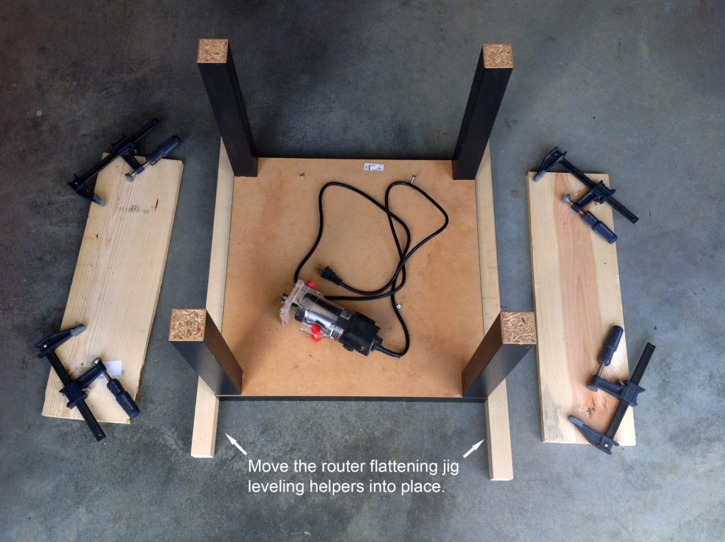 assembling the tree stump slice flattening jig