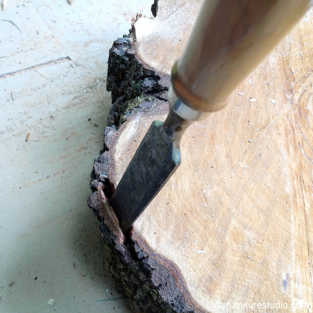 bark removal with chisel and hammer