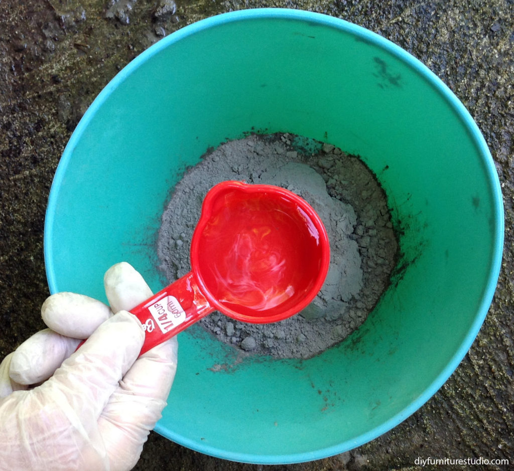 cement vase one quarter cup water
