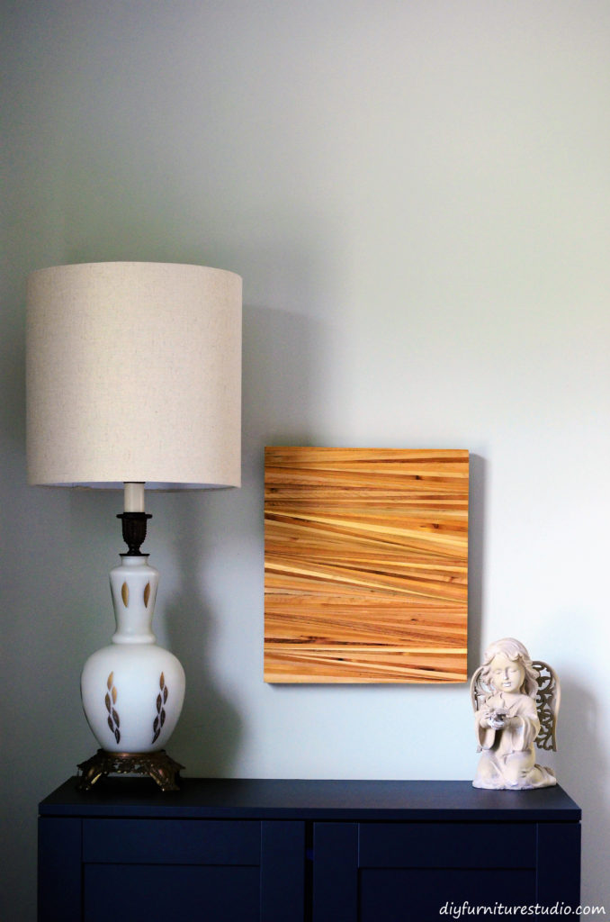 DIY wood shim wall art.