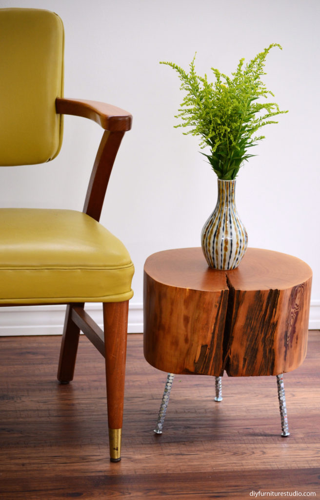 DIY live edge side table with three DIY furniture leg options.