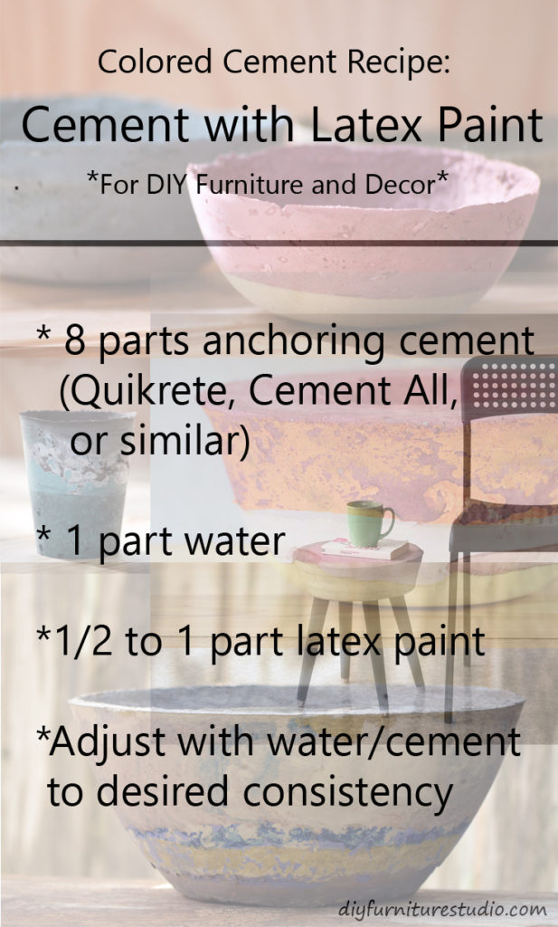 Recipe for Latex Paint-Tinted Cement Furniture and Decor.