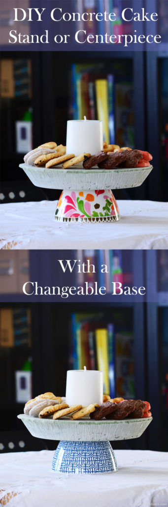 DIY colored concrete cake stand or centerpiece that has a changeable base. Tutorial.