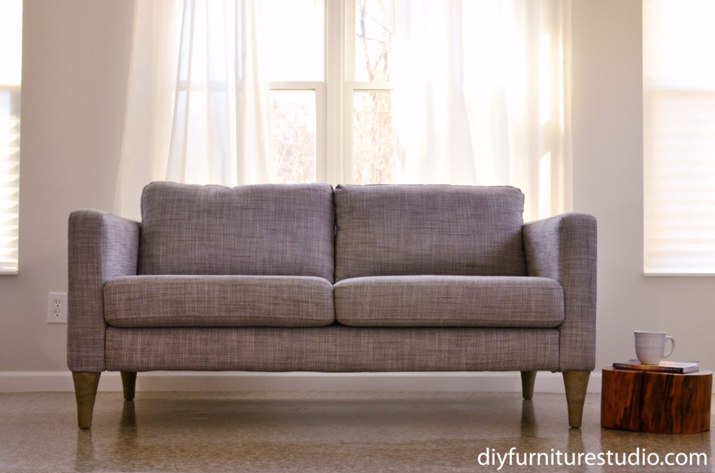 DIY concrete and cement gift ideas. Cement sofa legs by DIY Furniture Studio.