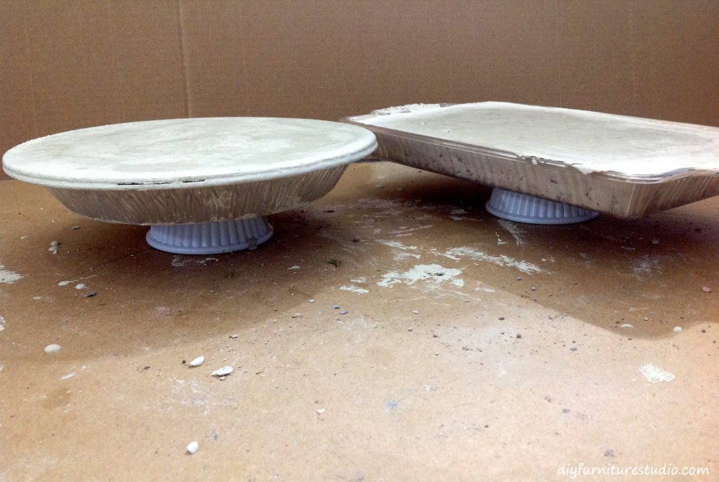 DIY concrete centerpiece or cake stand. After the pour. Curing the casts. Waiting.