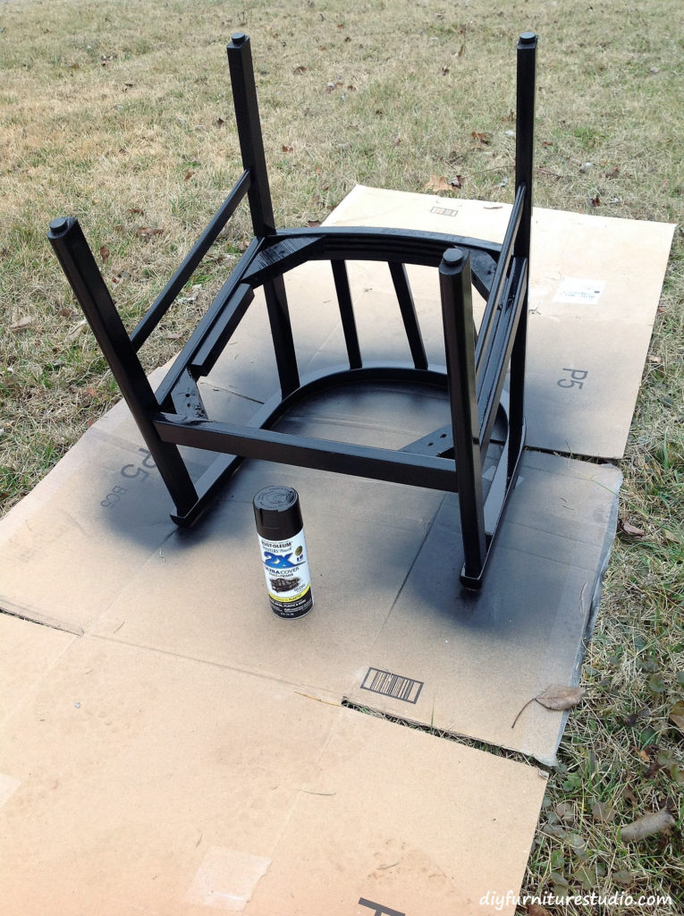 Chair Makeover. Spray painting the wood chair frame.