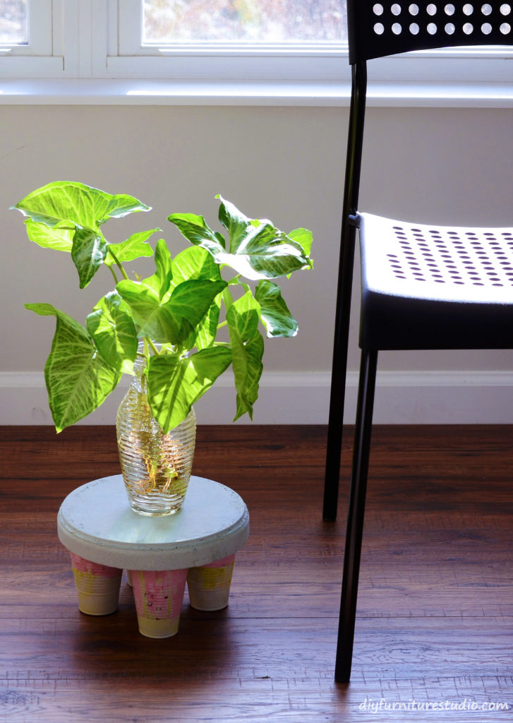 DIY cement side table or plant stand.