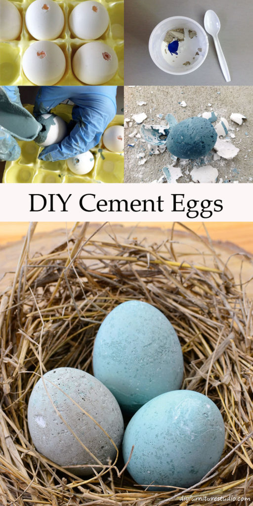 DIY Easter Egg made with cement, latex paint, and water.